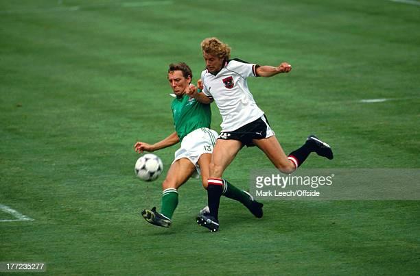 Fifa World Cup 01 July 1982 Austria v Northern Ireland Sammy Nelson tackles Gernot JURTIN of Austria