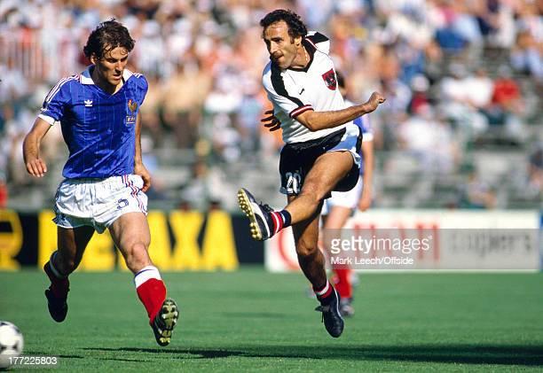 Fifa World Cup 28 June 1982 Austria v France Kurt WELZL shoots watched by Patrick Battiston of France