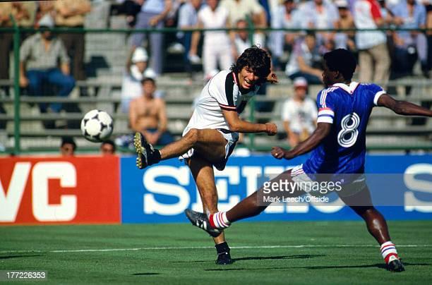 Fifa World Cup 28 June 1982 Austria v France Reinhold HINTERMAIER shoots as French captain Marius Tresor cannot block the ball