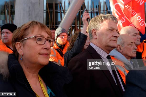 Fife MSPs Annabelle Ewing and David Torrance to speeches outside the Scottish Parliament following a march by workers from the crisishit Scottish...