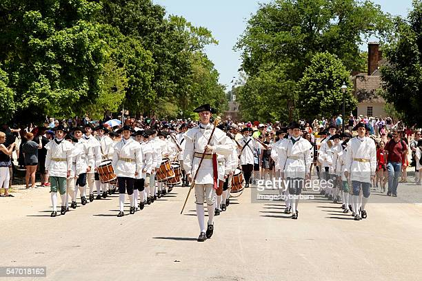fifes and drums - williamsburg virginia stock pictures, royalty-free photos & images