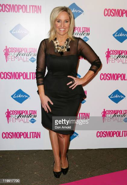 Fifi Box arrives on the pink carpet at the Cosmopolitan Fun Fearless Females Awards on July 27 2011 in Sydney Australia