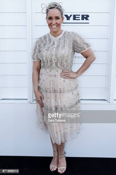 Fifi Box poses at the Myer Marquee on Oaks Day at Flemington Racecourse on November 9 2017 in Melbourne Australia