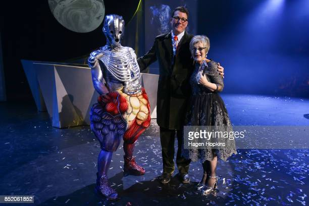 Fifi Colston poses with her garment 'The Organ Farmer' and Sir Richard Taylor after winning the Weta Workshop Science Fiction award during the World...