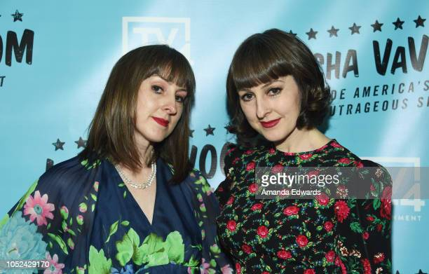 Fifi Poubelle and Bibi Poubelle arrive at the 'Lucha Vavoom Inside America's Most Outrageous Show' premiere at the Harmony Gold Theatre on October 17...