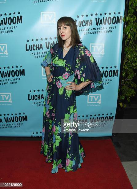 Fifi Poubelle arrives at the 'Lucha Vavoom Inside America's Most Outrageous Show' premiere at the Harmony Gold Theatre on October 17 2018 in Los...