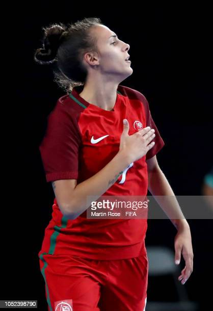 Fifo of Portugal after scoring the 3rd goal in the Women's Futsal Final match between Portugal and Japan during the Buenos Aires Youth Olympics 2018...