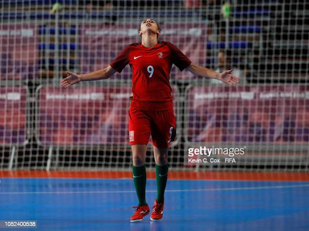 Fifo of Portugal celebrates scoring the fourth goal against Japan in the Women's Futsal Final match between Portugal and Japan during the Buenos...