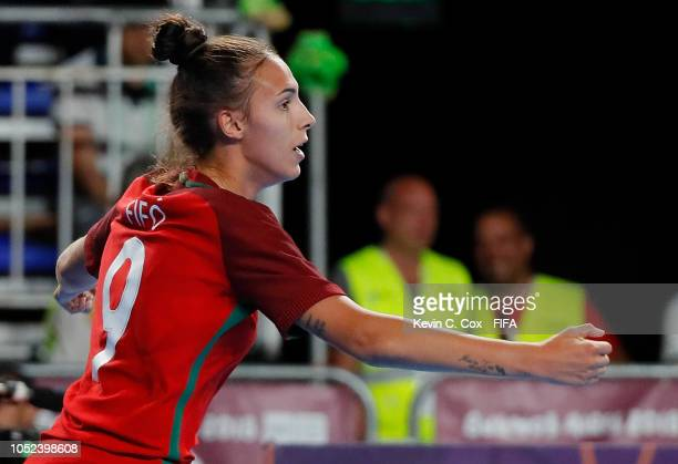 Fifo of Portugal celebrates scoring the second goal against Japan in the Women's Futsal Final match between Portugal and Japan during the Buenos...