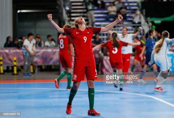 Fifo of Portugal celebrates their 41 win over Japan in the Women's Futsal Final match between Portugal and Japan during the Buenos Aires Youth...