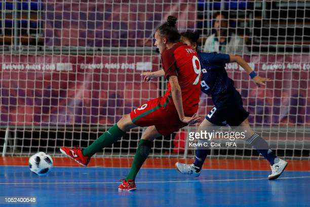Fifo of Portugal scores the fourth goal against Japan in the Women's Futsal Final match between Portugal and Japan during the Buenos Aires Youth...