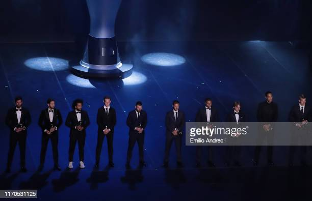 FIFPro Men's World 11 Players of the Year Alisson, Sergio Ramos, Marcelo Vieira, Lionel Messi, Frenkie de Jong, Eden Hazard, Kylian Mbappe, Luka...