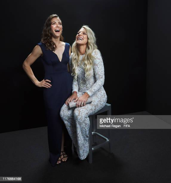 FIFPro Women's World11 Finalist Kelley O'Hara of USA and teammate The FIFA FIFPro Women's World11 2019 finalist Julie Ertz pose for a portrait in the...