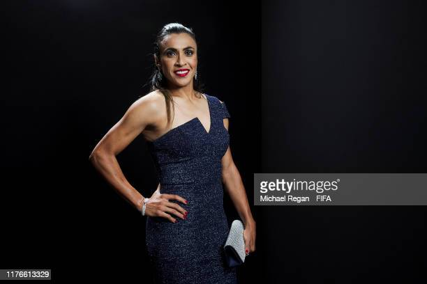 FIFPro Women's World11 Finalist Marta Vieira da Silva of Orlando Pride and Brazil poses for a portrait in the photo booth prior to The Best FIFA...