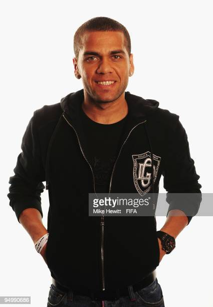 FIFPro World XI player Daniel Alves of Barcelona and Brazil poses for a photo on December 21 2009 in Zurich Switzerland
