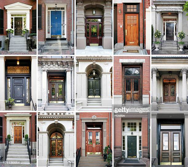 Fifteen photos of front doors on a grid