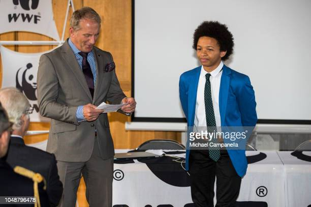 Fifteen year old Luca Berardi wins the Young Enviromental Hero of the year prize during the WWF's autumn meeting at Ulriksdals Palace on October 10...