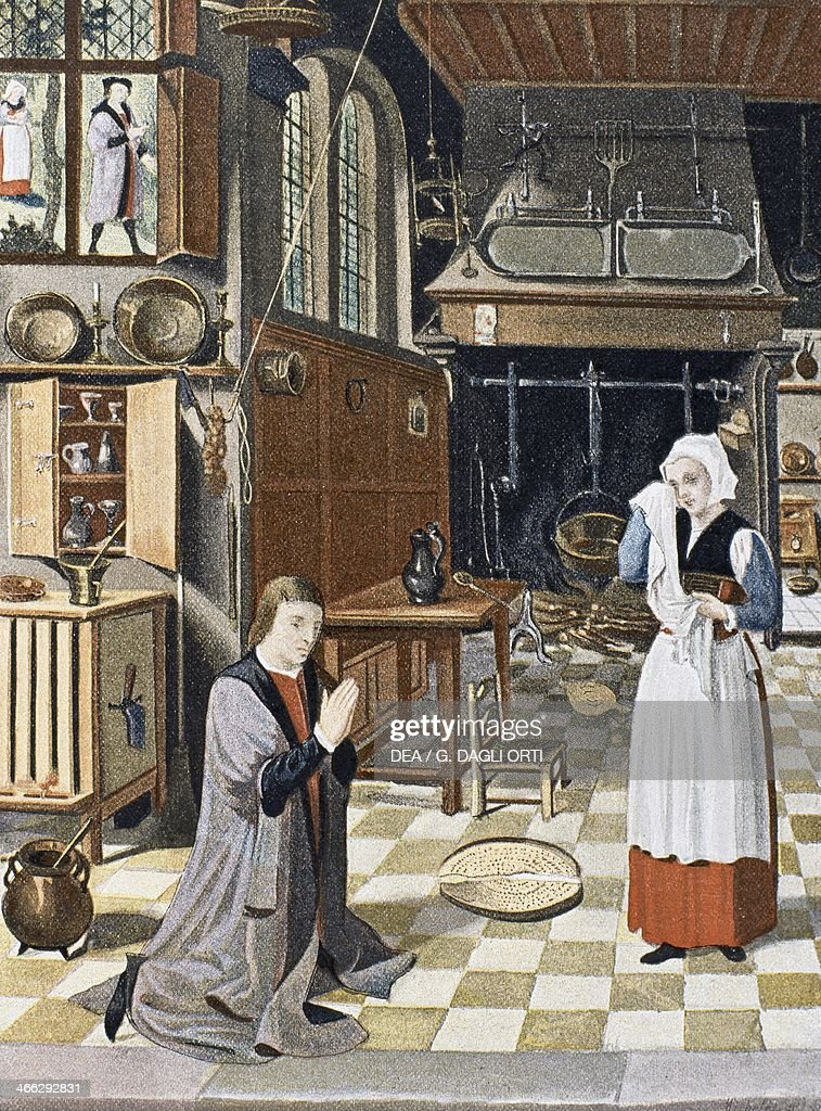 Fifteenth Century Kitchen Interior, Copy Of The 16th Century Miracle Du  Tamis Panel By The