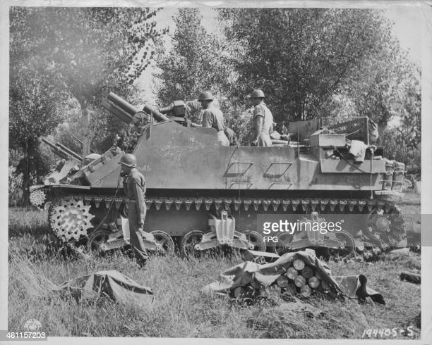 US Fifth Army M4 Sherman mounted tank on the Gothic Line during World War Two Lucca Italy September 16th 1944