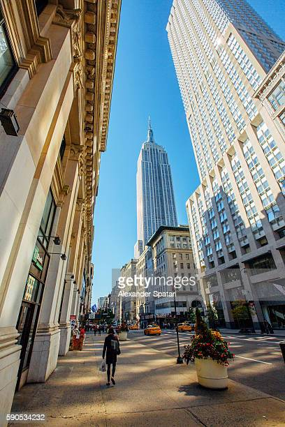Fifth Avenue and Empire State Building, Manhattan, New York, NY, United States