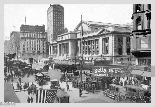 Fifth Avenue and the New York Public Library 1911