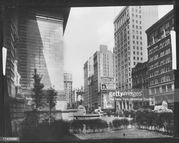 Fifth Avenue looking towards 42nd Street from front yard of New York Public Library at about 41st Street New York New York 1920s