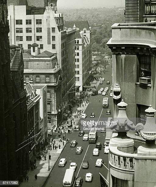 Fifth Avenue, New York City, (B&W), (High angle view)