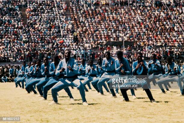 Fifth brigade of Zimbabwean army trained by North Koreans makes a karate demonstration in May 1984 at the Rufaro stadium in Harare / AFP PHOTO /...
