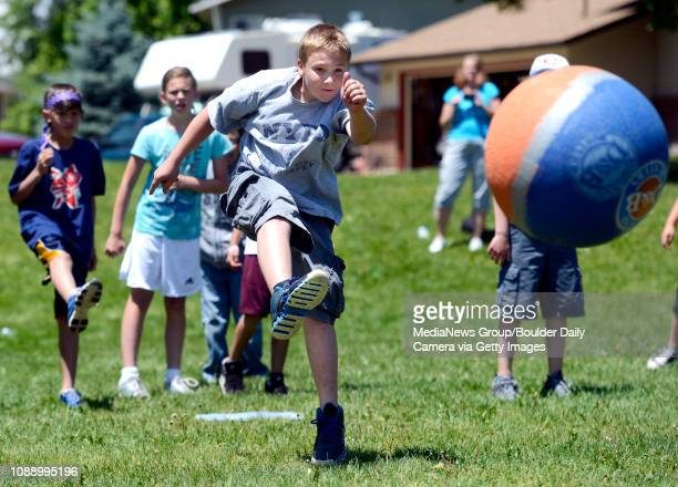 Fifth grader Brayden Rizzi kicks the ball during a kickball game on Thursday May 24 at Ryan Elementary School in Lafayette For more photos and video...