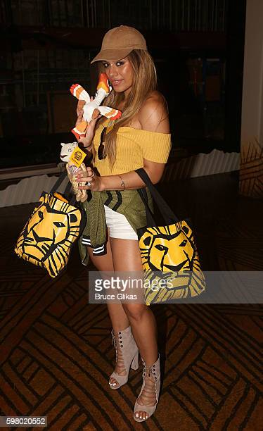 Fifth Harmony group member Dinah Jane Hansen poses backstage at the hit musical 'The Lion King' on Broadway at The Minskoff Theatre on August 30 2016...