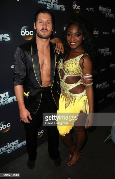 Fifth Harmony member Normani Kordei and dancer Valentin Chmerkovskiy attend 'Dancing with the Stars' Season 24 at CBS Televison City on March 27 2017...