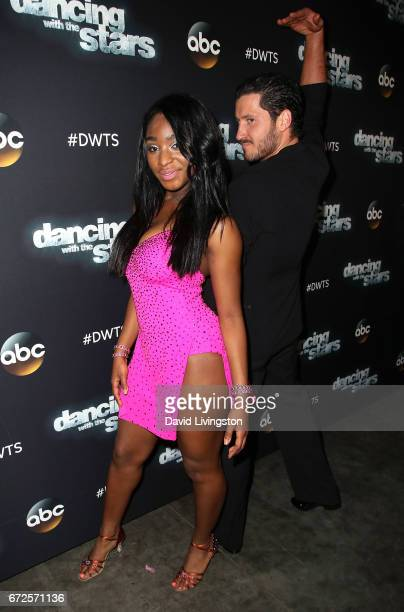 Fifth Harmony member Normani Kordei and dancer Valentin Chmerkovskiy attend 'Dancing with the Stars' Season 24 at CBS Televison City on April 24 2017...
