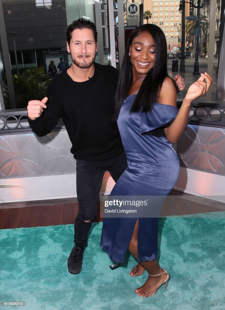 Fifth Harmony member Normani Kordei (R) and dancer Valentin Chmerkovskiy visit Hollywood Today Live at W Hollywood on April 26, 2017 in Hollywood, California.