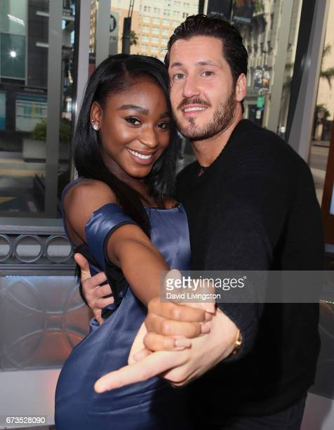 Fifth Harmony member Normani Kordei and dancer Valentin Chmerkovskiy visit Hollywood Today Live at W Hollywood on April 26 2017 in Hollywood...
