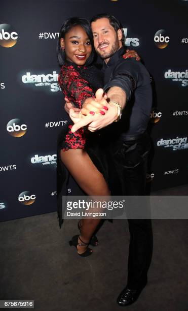 Fifth Harmony member Normani Kordei and dancer Valentin Chmerkovskiy attend Dancing with the Stars Season 24 at CBS Televison City on May 1 2017 in...