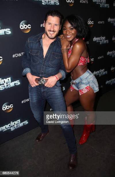 Fifth Harmony member Normani Kordei and dancer Valentin Chmerkovskiy attend 'Dancing with the Stars' Season 24 at CBS Televison City on May 8 2017 in...