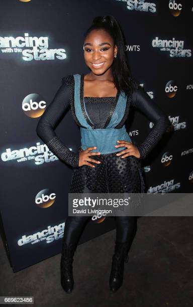 Fifth Harmony member Normani Kordei attends 'Dancing with the Stars' Season 24 at CBS Televison City on April 17 2017 in Los Angeles California
