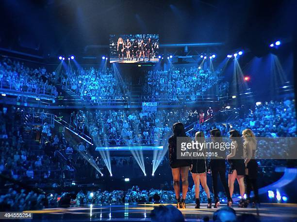 Fifth Harmony on stage to announce the 'Best Look' category at MTV EMA's 2015 Instant View at the MTV EMA's 2015 at Mediolanum Forum on October 25...