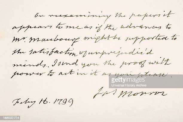 Fifth President Of The United States Of America Hand Writing Sample