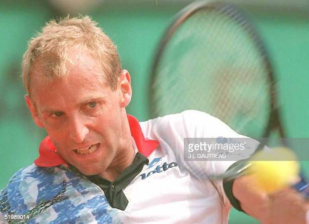 Fifthseeded Austrian Thomas Muster returns the ball to Spaniard Alberto Costa during their quarterfinals match of the French Tennis Open...