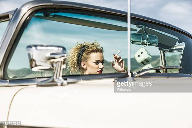Fifties Curly Hair Glamour Girl Driving Convertible Car