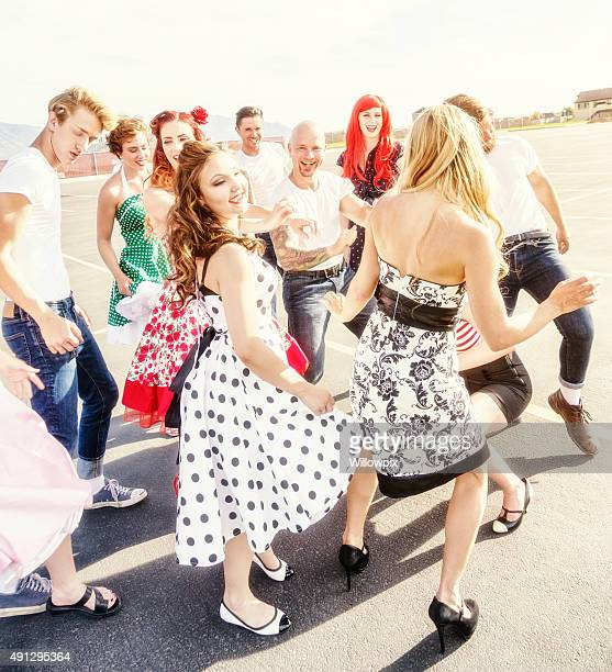 Fifties High School Dancers Party in the Parking Lot