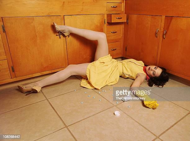 Fifties Housewife Sprawled on Floor