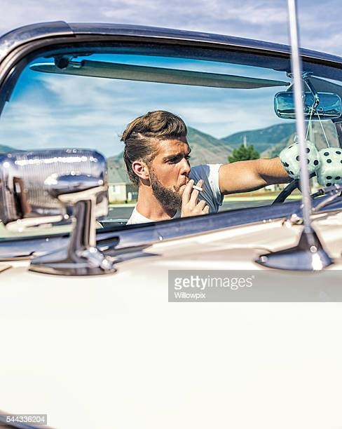 Fifties Pompadour Hair Greaser Guy Smoking Driving Convertible Car