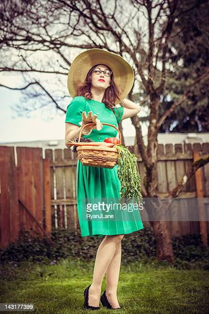 Fifties Style Housewife with Vegetable Basket