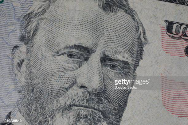 fifty dollar bill with portrait of ulysses s grant portrait - ulysses s grant stock pictures, royalty-free photos & images
