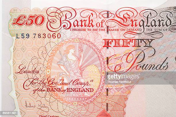 fifty english pound note, cropped, close-up - fifty pound note stock pictures, royalty-free photos & images