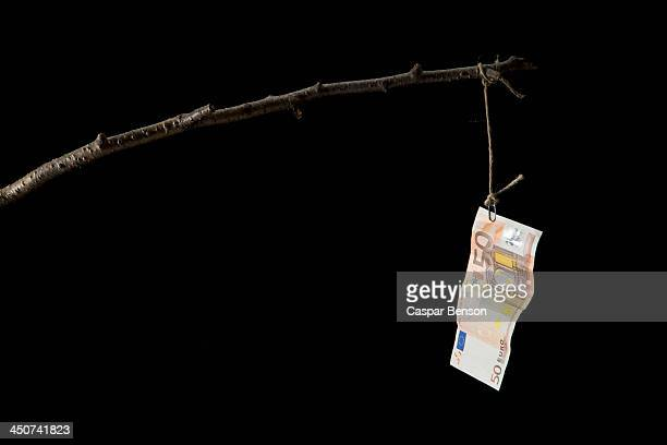 a fifty euro banknote dangling from a crude fishing rod - corruption stock pictures, royalty-free photos & images