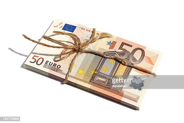 cinquanta euro legato - banconote euro foto e immagini stock