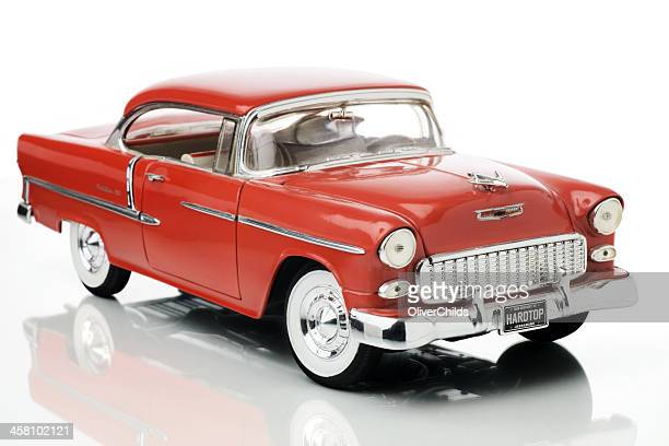 fifty five chevrolet bel air 1/18th scale model, front view. - 1955 stock pictures, royalty-free photos & images
